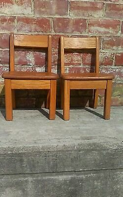"""(2) Vintage Solid Oak Childs Primary School Classroom Library Chair 10"""" Seat"""