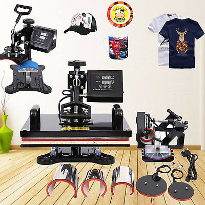 8 in 1 Digital Heat Press Transfer Sublimation Machine Swing Away T-Shirts 12x15