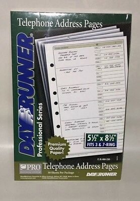 "Day Runner Telephone Address Pages 30 Sheets Fits 7 Ring 5.5"" x 8.5"" 480-230 NEW"