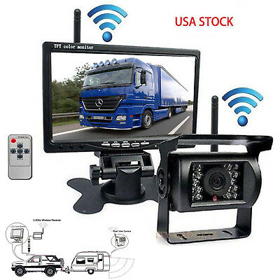 """Built-in Wireless 7"""" HD Monitor Backup Camera Rear View System For Truck RV Bus"""