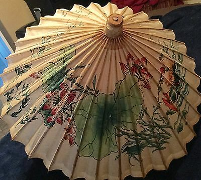 Vtg Chinese Oriental Antique Wooden Bamboo Parasol Handmade Paper