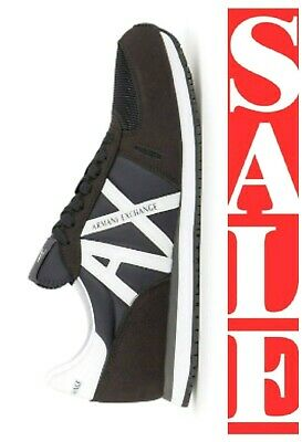 ARMANI EXCHANGE A X LOGO Mens Retro Low Top Trainers Sneakers MDNIGHT BLACK $125