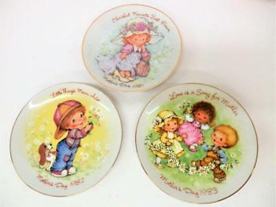 3 Vintage Avon Cherished Moments Mothers Day Mini Plates 1981 1982 1983 PERFECT
