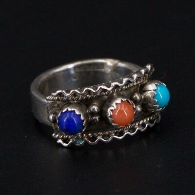 VTG Sterling Silver Southwestern Running Bear Turquoise Coral Ring Size 6 - 6.4g