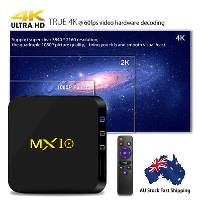 Newest MX10 Android 8.1 Smart TV BOX 4GB+32GB Quad-core 4K Kodi Player AU SHIP
