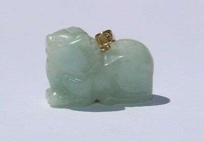Beautifully Carved Chinese Translucent Green Jade 14 k Yellow Gold Ram Pendant