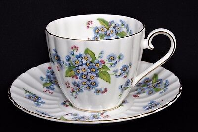 TUSCAN Fine English Bone China Porcelain FORGET ME NOT Flowers Tea Cup & Saucer