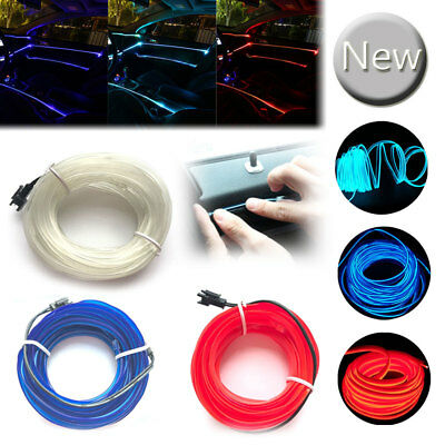 Car LED Interior Cold Light Strip Neon Lamp Wire Light Rope Universal 1/2/3/5M