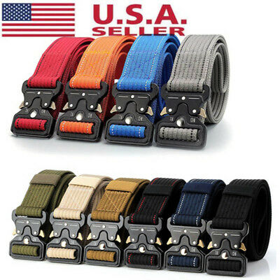 USA Mens Military Belt Buckle Combat Waistband Tactical Rescue Tool Adjustable