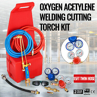 Gas Welding Cutting Kit Oxy Propan Oxygen Torch Brazing Fits 10' Hose w/Red tote