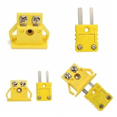 Thermocouple K Type Miniature Socket & Panel Mount Alloy Plug Connector One Set