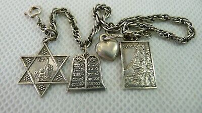 Rare Late 1940's Israel made silver Bracelet with Judaica Symbols Charms