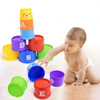 Baby Kids 9 Stack Up Cups Toy Perfect for Gift Bath Toys 6 Months Stacking New L