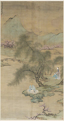 Chinese old painting Sansui landscape Early spring morning at riverside village