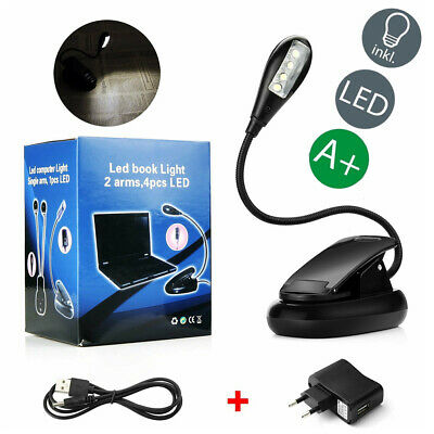 LED USB Clip-on Leselampe Buchlampe Lampe Klemmleuchte Charge Reading Lampen