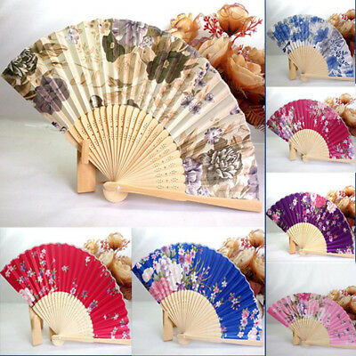 Chinese Cherry/Peony/Ink Style Silk Folding Hand Fan Wedding Stage Party Props