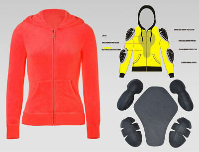 Motorcycle Riding Hoodie Red Fleece Racing Jacket Full Zip Up Armour For Women's