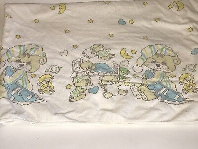 HTF Vtg RIEGEL TEDDY BEDDY Flannel Receiving Baby BLANKET Stars Moon BEAR Bed