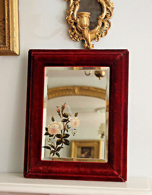 A Beautiful Victorian Red Velvet Bevelled Mirror, Hand Painted Floral Bouquet