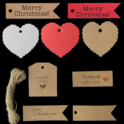 50/100 Kraft Paper Christmas Gift Tags Scallop Label Luggage Gift Blank Strings