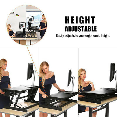 """Standing Stand Up Height Adjustable Folding Desk Pro 32"""" wide Sit Stand Desk New"""