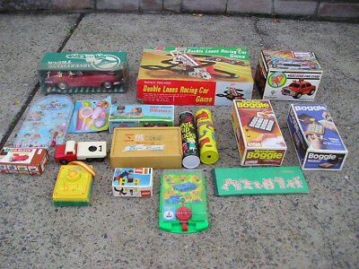 Bulk Lot Vintage Toys Games Tin Battery Operated In Boxes