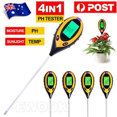 4 in 1 Digital Soil PH Moisture Sunlight Temperature Tester Meter Lawns SALE JU