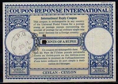 Ceylon 65 / 50 CENTS  International Reply Coupon Reponse Antwortschein IRC IAS