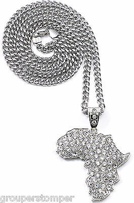 "Africa Map Necklace New Iced Out Large Rhinestones Pendant 36"" 6mm Cuban Chain"