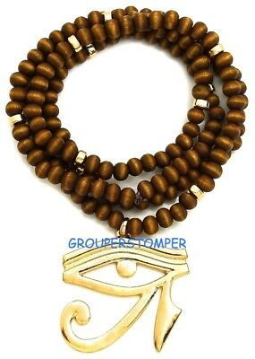 Eye Of Horus On Ankh Larger Pendant Necklace With 30 Inch Long Wood Bead Chain