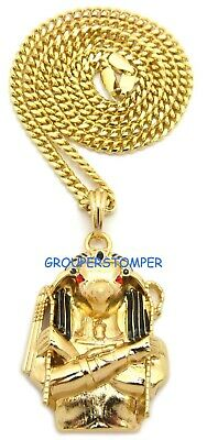 Anubis Egyptian Protector God Pendant Necklace New 24 Inch 4mm Cuban Link Chain