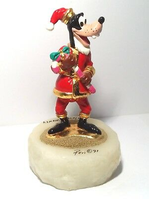 DISNEY Signed RON LEE 91 Goofy CHRISTMAS Sculpture GOLD PLATED Numbered Quartz