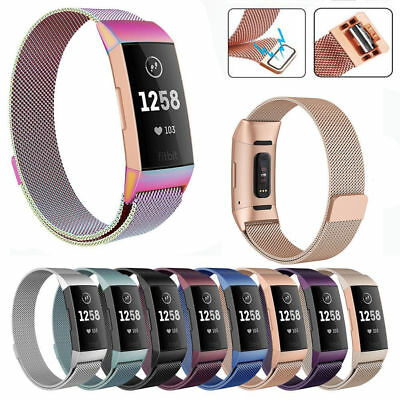 For Fitbit Charge 3 Band Metal Stainless Steel Milanese Loop Wristband Strap