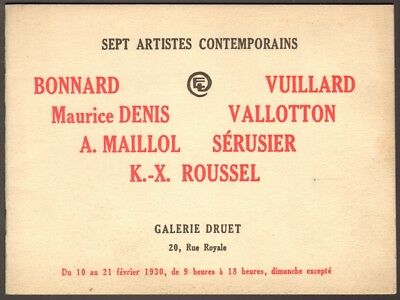 Catalogue Exposition Bonnard - Vuillard - Vallotton. Galerie Druet. 1930. Nabis