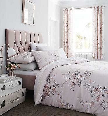 Catherine Lansfield Canterbury Reversible  Blush Floral Duvet Cover Bedding Set