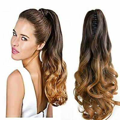 "Neverland Beauty 20""50cm Ombre Two Tone Long Big Wavy Claw Curly Ponytail Clip"