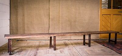 Very Long Antique Early 20th Century Pine Gym  Locker Room / School Bench