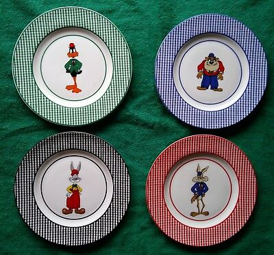 "Taz, Bugs, Daffy, RR  4 Warner Brothers Studio Store 8"" Collector Plates 1992"