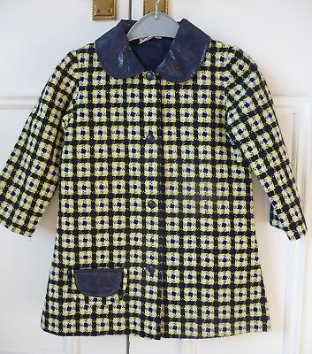 Vintage 1970's girls blue & yellow check coat 26 inch chest by Telsada.
