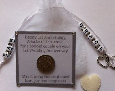 Personalised First Wedding Anniversary Lucky Sixpence Gift & Charm – 1st