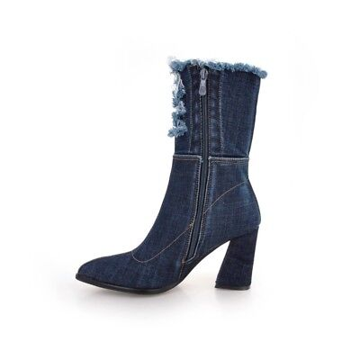 Womens Clubwear Shoes Ripped Denim High Heels Pumps Zip Ankle Boots US Size b012