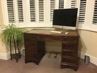 Antique Reproduction Regency Style Leather Top Inlay Pedestal Desk