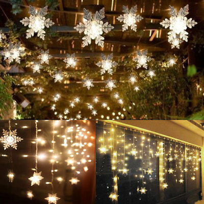 3.5M Led Snowflake String Fairy Lights Indoor/ Outdoor Garden Curtain Xmas Party