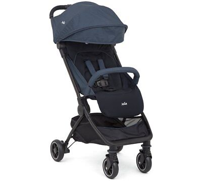 New Joie Pact Blue Lightweight Baby Pushchair Stroller Pram With Raincover