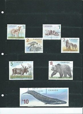 Canada High Value Wildlife Definitives With $10 Whale  Used Set of 7 Very Fine