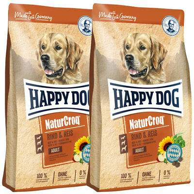 2 x 15 kg Happy Dog NaturCroq Adult Rind & Reis