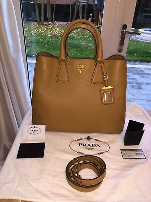5e7fa1284c88 Prada Cobalto Vitello Daino Leather Tote Bag Nude Camel BN2423 Discontinued