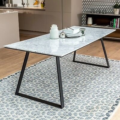 New Carrara Marble White Dining Table Choice of 4 Dining Room Chairs Available