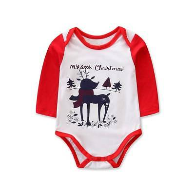 UK Newborn Baby Christmas Romper Little Peanut Kid Jumpsuit Bodysuit Xmas Outfit