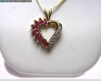 "Sterling Silver/Vermeil 18"" 1.09 Carat Ruby and Diamond Heart Necklace. (B5579)"